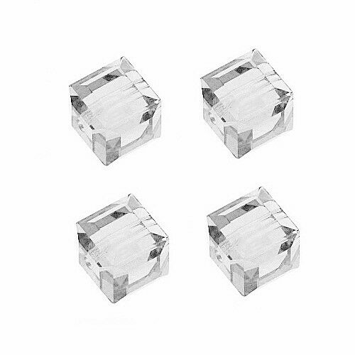 GLASS FACETED SQUARE CUBE BEAD CRYSTAL CLEAR COLOR 6MM 49 BEADS STRAND GC3