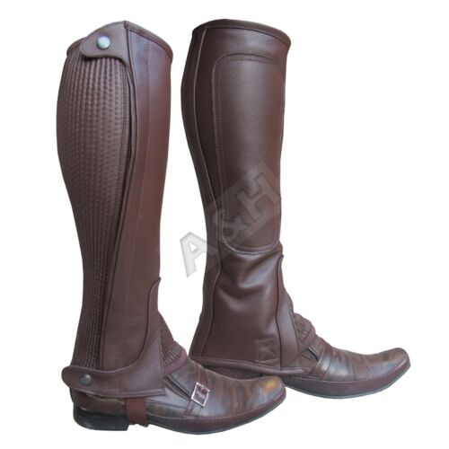 Leather Half Chaps Padding Inside Black Brown Adults Horse Riding New