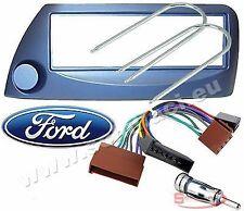 Kit installazione autoradio mascherina adattatore e connettore per FORD KA blu