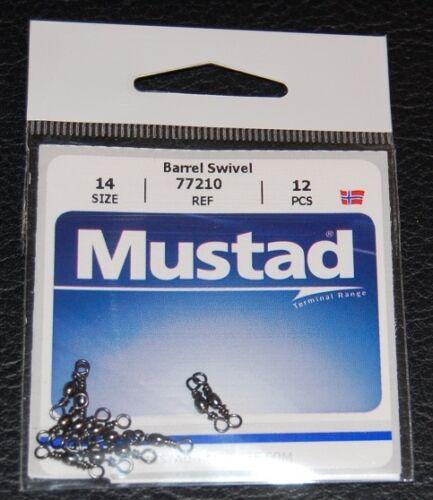 Mustad 77210-014 Black Barrel Swivels Size 14 Pack of 12