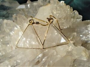 SUPER-Clear-Quartz-VOGEL-Triangle-with-18K-GOLD-on-SILVER-Setting-EARRINGS