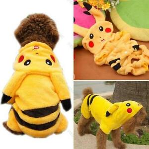 Pet-Clothes-Dog-Pikachu-Yellow-Sweater-Hoodie-Cat-Coat-Puppy-Apparel-Costume-M