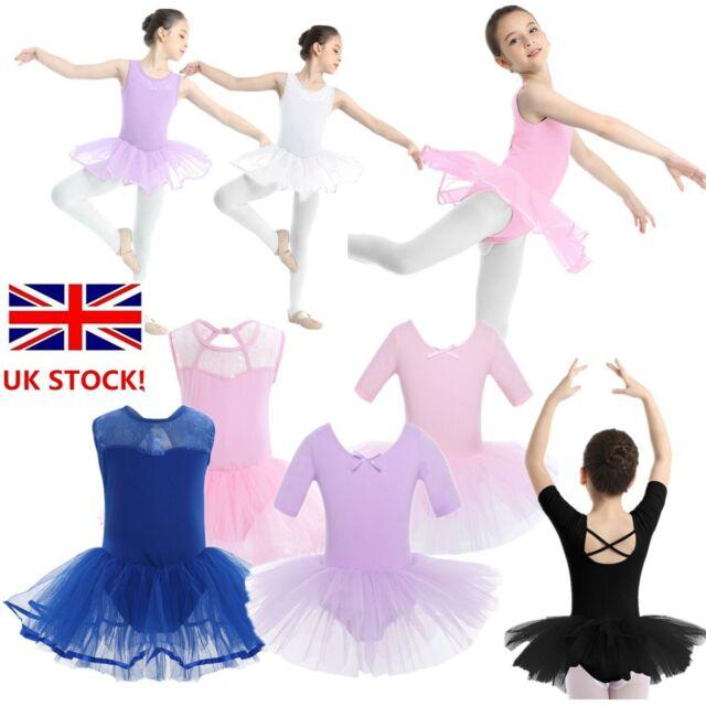 UK Girls Long Sleeve Ballet Dance Tutu Dress Gymnastics Outfit Leotard Dancewear