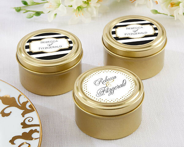 72 Personalized Classic Wedding Theme Round Gold Candy Tins Wedding Favors