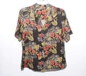 deeddc8c Tommy bahama womens 100% silk Button Up Hawaiian floral top L 12/14 ...