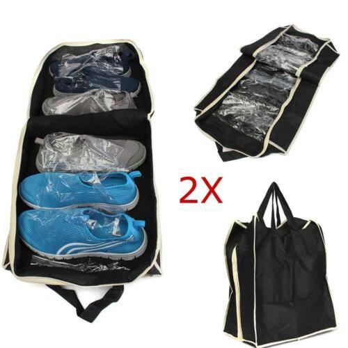 2pc Shoes Organizer Holder Travel Underbed Storage Tote Bag Ventilation Black IR