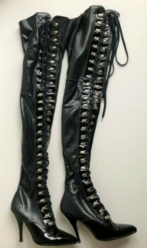 Latex Rubber Patent Leather Black Thigh High Boots