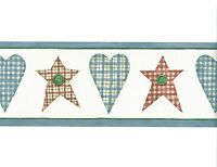 Country Red Hearts Blue Folk Country Stars Border Room Decor Country Wall Decor