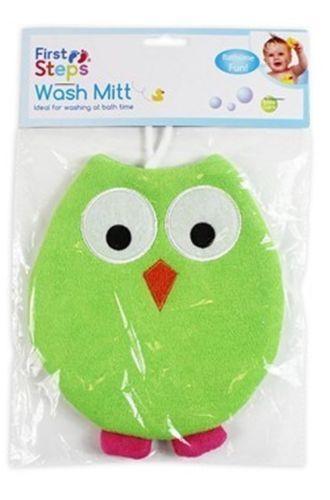 FIRST STEPS GREEN BABY WASH MITT OWL GLOVE BATH CLEAN BATHING FUN FLANNEL CLOTH