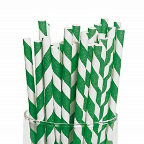 """20cm Biodegradable Compostable 6mm Dia Green and White Striped Paper Straws 8/"""""""
