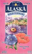 Wildflowers of Alaska Mix of Aster, Blue Flax, and Red Poppy Seed Postcard 390 S
