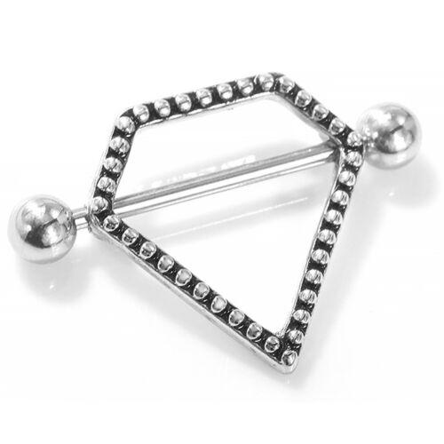 Opal Gem Crystal Nipple Ring Bar Barbell Shield 316L Steel Body Piercing Jewelry