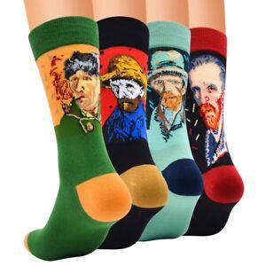 Retro-Art-World-Famous-Painting-Series-Personality-head-Portrait-Men-Cotton-Sock