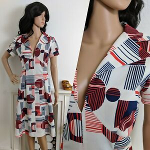 Vintage-60s-70s-Navy-Red-Circle-Abstract-Midi-A-line-Dress-Mod-12-14-40