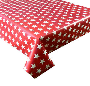 Image Is Loading Funky Red With White Stars Vinyl Tablecloth Pvc