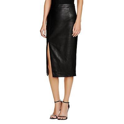Bardot 6667 Womens Black Faux Leather Side Slit Coated Pencil Skirt 8 BHFO