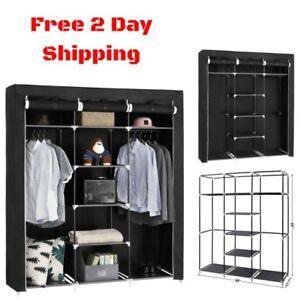 Portable Clothes Closet Wardrobe Bedroom Storage Organizer Durable Armoire Black