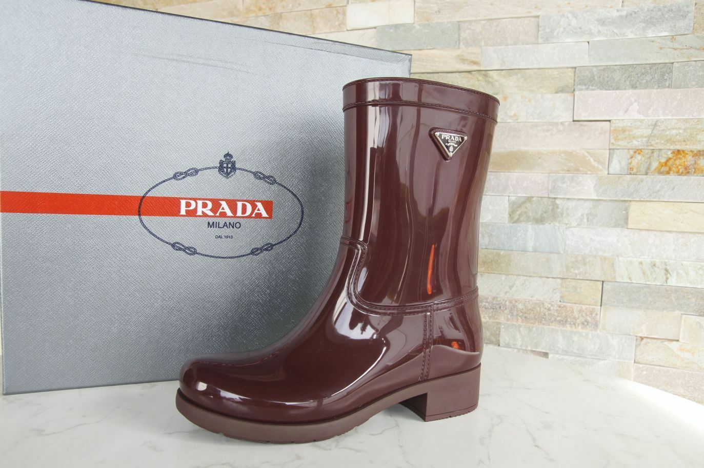 Prada 37 fell botas de goma lluvia rubber rubber rubber botas zapatos burdeos nuevo ex PVP d8dd41