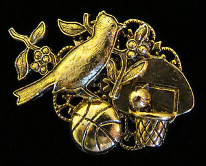 Cardinal-Basketball-Mascot-Brooch-Pin-24-Karat-Gold-Plate
