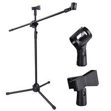 Microphone Stand Dual Mic Clip 360-degree Rotating Folding Type Boom Arm Tripod