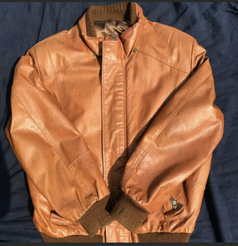 Leather Brown Mens Jacket Bomber Size M