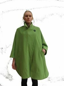 LADIES-one-size-CASHMERE-WOOL-COAT-JACKET-GREEN-CITY-SWINGER-CAPE-RR1236