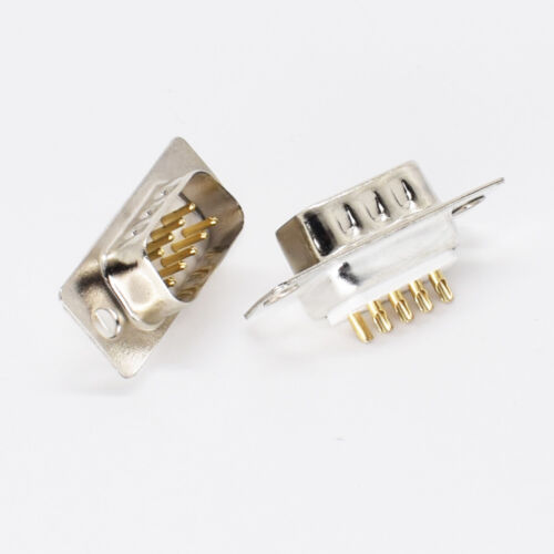 9pin D-Sub Conector De Chasis De Soldadura Enchufe MacHo RS232 Serial DB9 Pin de oro de 10 un