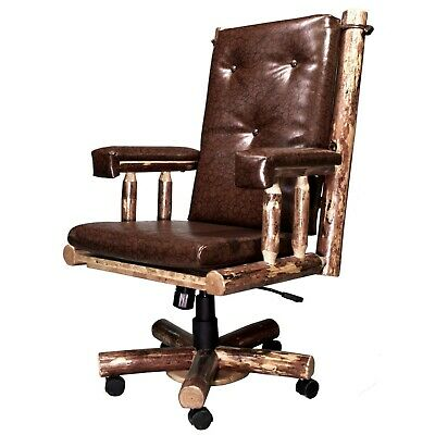 Log Office Chair Solid Pine Upholstered