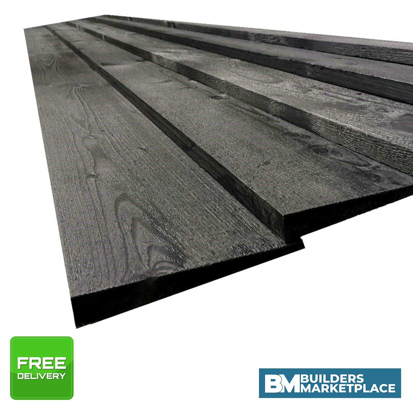 Picture of: Black Painted Feather Edge Boards Fence Panels Cladding Treated Timber Fencing Ebay