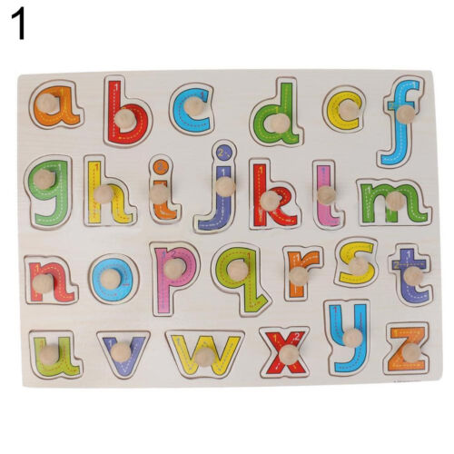 JN/_ Alphabet  Numbers Wooden Peg Puzzles Baby Toddler Preschool Educational To