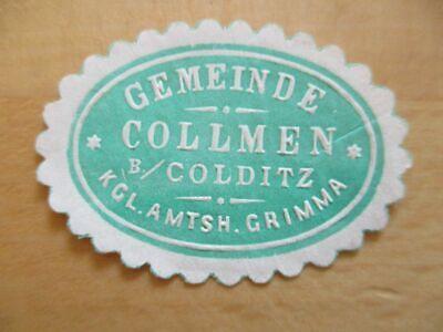 Gemeinde Collmen B Colditz Amtsh Siegelmarke Grimma 21080 Gut