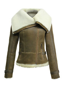 4667fa1f3 Details about Brandslock Womens Genuine Shearling Sheepskin Leather Flying  Jacket
