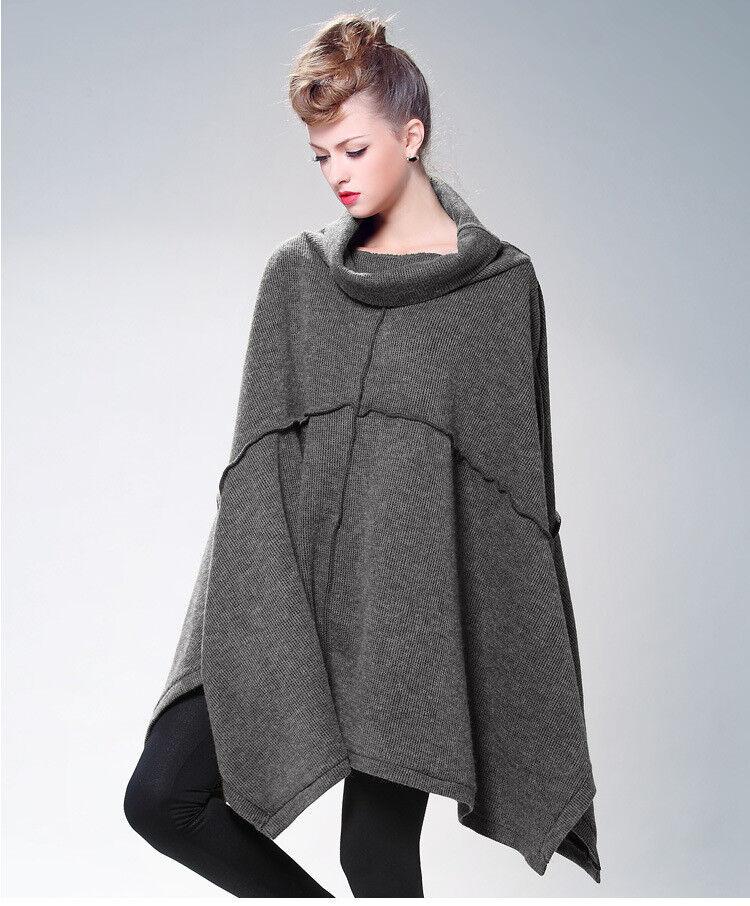 Fashion Women Oversize Oversize Oversize Loose Knitted Sweater with Batwing Sleeve & Irregular Hem e215c8