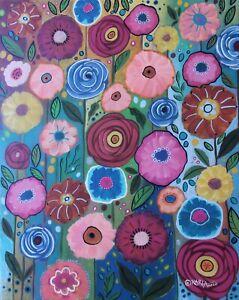 Floral-Abundance-16-x-20-ORIG-STRETCHED-CANVAS-PAINTING-Folk-Art-Karla-Gerard