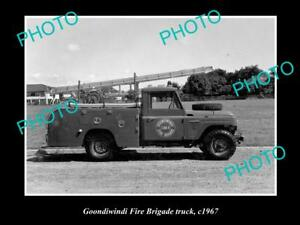 OLD-LARGE-HISTORIC-PHOTO-OF-GOONDIWINDI-QLD-THE-FIRE-BRIGADE-TRUCK-c1967