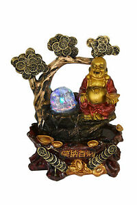 Buddha Indoor Tabletop Water Fountain Chinese Coins Ru Yi