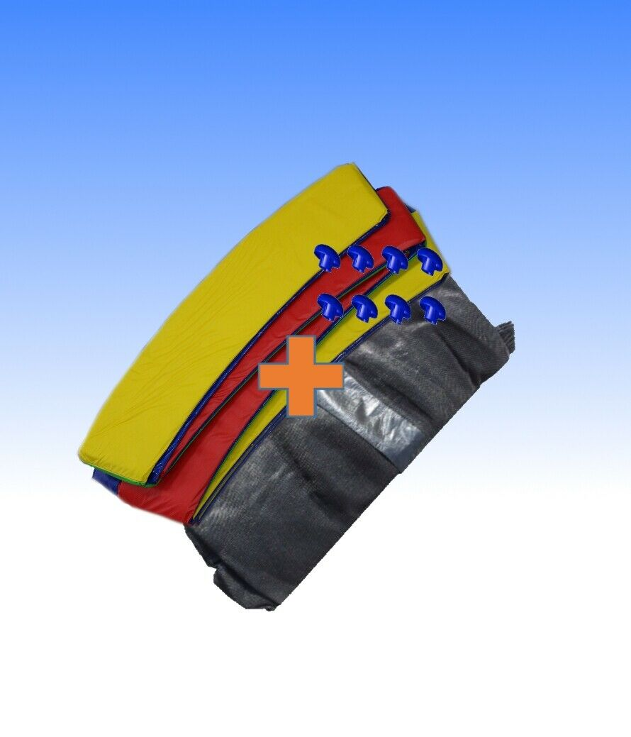 Trampoline recouvre-bord Couleuré + filet de sécurité 8 tiges 244 305 366 396 427 457cm