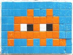 Détails Sur Pixel Art Monster Un Space Invader Orange Carreaux Art Print Poster Qu315a Afficher Le Titre Dorigine