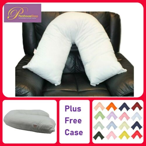 FREE COVER Orthopaedic V Shaped Neck Pillow Fluffy Back Pain Nursing Support
