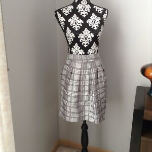 Womens-THE-LIMITED-Gray-amp-White-Print-Pleated-Skirt-w-Pockets-Lining-Size-M