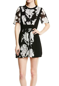 96f1fd0329e9 french connection black ivory floral print panel mini dress size 12 bnwt ...