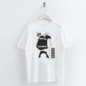 Harajuku-Style-Japonais-Imprime-T-SHIRT-d-039-ete-femme-a-manches-courtes-O-Neck-Tee-Tops