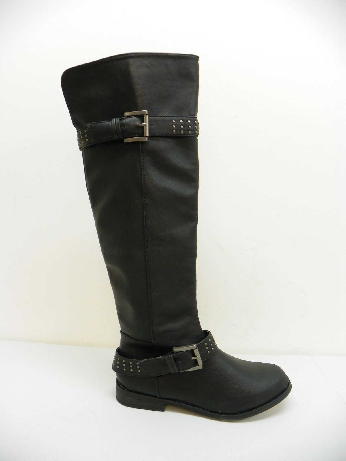 XOXO Womens Shoe Brianna Tall Shaft Flat Boots Black Faux Leather 5.5M