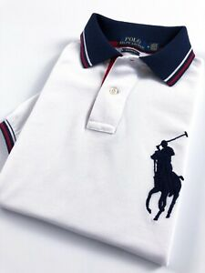 Polo-Ralph-Lauren-Polo-Shirt-Homme-Custom-Fit-Blanc-Contraste-Detail-Big-Pony