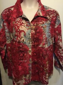 Jane Ashley Notable Print Casual Red Blouse