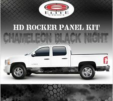 "Hex Black Night Camo Rocker Panel Graphic Decal Wrap Truck SUV - 12"" x 24FT"