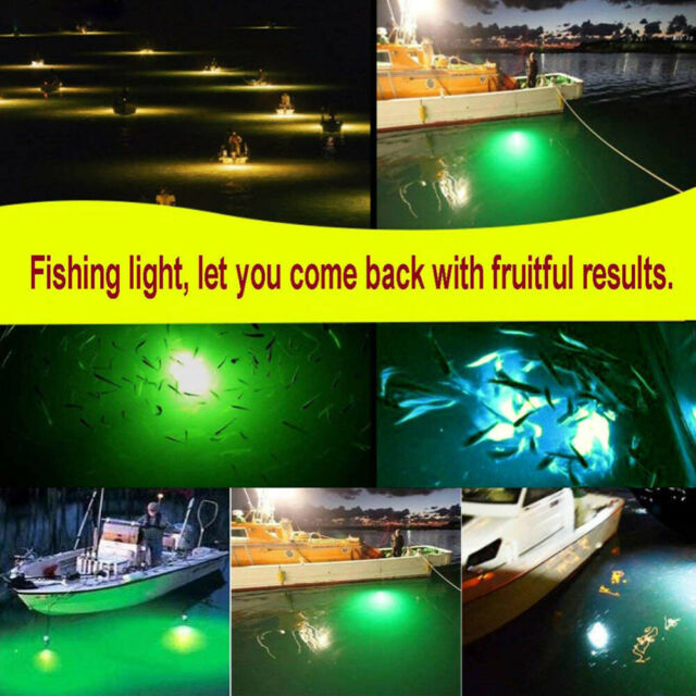 AquaLure Fishing Light Green Underwater Submersible Boat 108LED Attract Fish USA