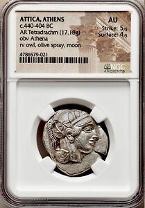 Attica Athens Greek Owl Silver Tetradrachm Coin (440-404 BC) - NGC AU 5/5 4/5