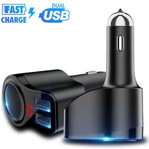 Dual-USB-Car-LCD-Cigarette-Lighter-Socket-Splitter-Charger-Power-Adapter-DC-12V