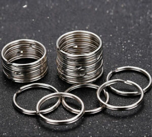 Wholesale-Silver-Tone-Key-Rings-Chains-Split-Ring-Hoop-Metal-Loop-Accessory-25mm